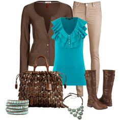 """Brown and Turquoise"" by tammietoo2 on Polyvore"