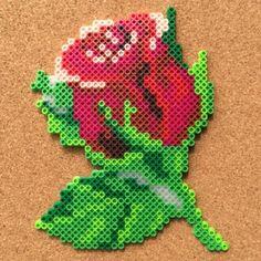 Rose flower perler beads by Tsubasa