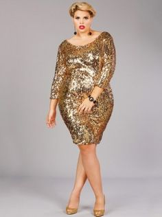 1bfe51f04ac Josephine Sequins Party Dress Gold - Monif C Plus Size Curvy Holiday dress!