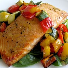 Dragon's Kitchen: Honey Lemon Salmon With Roast Vegetables Over Baby Spinach