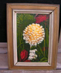 Vintage Mushroom Oil Painting signed Peggy Granath / Retro 1960's Original Framed Toadstool Painting