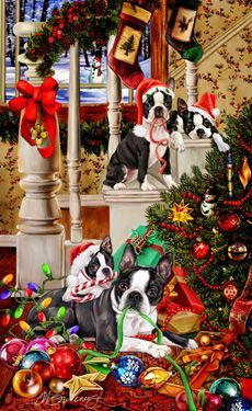 "New for 2016! Boston Terrier Christmas cards are 8 1/2"" x 5 1/2"" and come in packages of 12 cards. One design per package. All designs include envelopes, your personal message, and choice of greeting.Select your greeting from the drop-down menu above.Add your personal message to the Comments box during checkout."