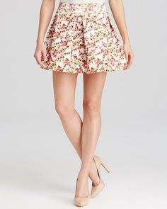 $58, Yellow Floral Skater Skirt: Aqua Skirt Floral Pleated Bandage. Sold by Bloomingdale's. Click for more info: http://lookastic.com/women/shop_items/228115/redirect