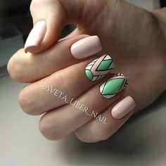 Pastel Colored Geo Mani. This gorgeous pastel geo manicure is for all the working ladies not having much time to pay to their nails.