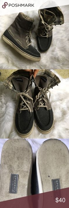 Womens hitop Sperry ankle boots Acklins size 10 Corduroy and charcoal high top boots by Sperry top sider. Plaid interior. Lace up. Size 10. Perfect for fall! Shoes Lace Up Boots