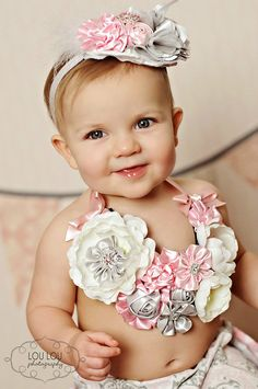 Pink & Silver Swanky Floral Bib Necklace from The Couture Baby
