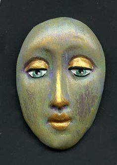 One+of+a+Kind+Polymer+Clay++Abstract++Art+Doll+face+by+linsart,+$7.50