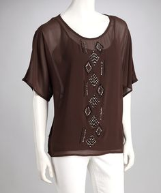 Take a look at this Mocha Sparkle Tribal Layered Top by Kay Celine on #zulily today!