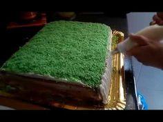 тортик футбольное поле украшен белково-заварным кремом - YouTube