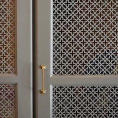 Gray Quatrefoil Lattice Cabinet Doors