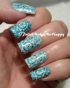 Nabi Hologram Nail Lacquer #OceanBlue. Stamped with Mundo de Uñas white. #nabi #mdu #nailpictures #stamping #nailart