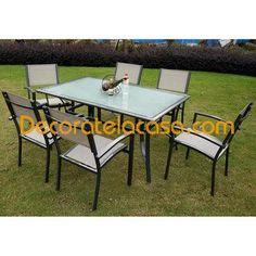 Conjunto de mesa con sillas de aluminio y textiline en color beig .