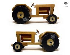 Tractor with trailer - wood toy - Pin Bandsaw Projects, Wood Projects, Cnc Wood, Woodworking Toys, Plastic Animals, Cardboard Crafts, Wood Toys, Play Houses, Kids Toys