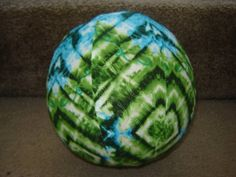 Balloon Ball with Drawstring Pouch in Blue and Green by KerrysCrafts, $6.00