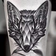fox dotwork geometric tattoo Tattoo Artist: Kamil Czapiga
