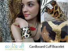 Savannah Starr upcycles paper towel tubes into cuff bracelets! Super cool! Cardboard Collaged Cuff Bracelet by Savannah Starr featured on Cool2Craft TV - http://cool2craft.com
