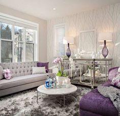 30 Cute Living Room With Purple Color Schemes Design Ideas