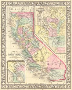 Coloring Map Of California Elegant Vintage State Map California 1860 by Imagerich On Etsy Vintage California, California Dreamin', Dutch Colonial Homes, Old Town San Diego, Gold Map, County Map, Map Globe, Printable Maps, State Map