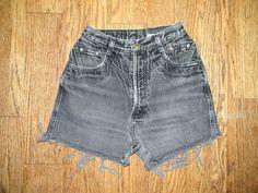 Vintage Denim Cut Offs - Vintage 80s/90s Black Acid Washed Denim Jean Shorts - SUPER High Waisted Cut Off Short Shorts - 10 Dollar Sale - xs. $10.00, via Etsy.