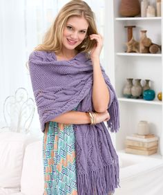 Meandering Cables Shawl Free Knitting Pattern from Red Heart Yarns