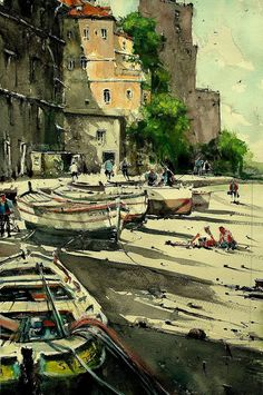 Buy Preparing for Sail II, a Watercolor Painting on Paper, by maximilian damico from Czech Republic, For sale, Price is $460, Size is 22 x 15 x 0.1 in.