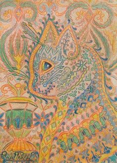 Paisley Cat sketch by Louis Wain. colorful indian or middle eastern inspired pencil drawing of his famous cats-a huge departure from the cats pictures he usually painted