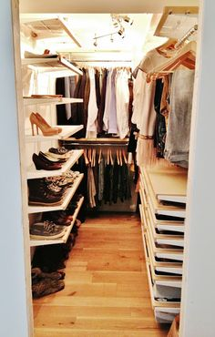 Okay, this is a closet in the real world, and I like it. Elfa closet from Container Store.  Pure Style Home: Our New Closet & My Closet Makeover Tips