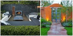 Clôture en pierre et clôture orange