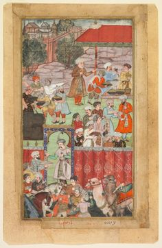 A feast for Babur hosted by his half-brother Jahangir Mirza in Ghazni in May 1505, from the Baburnama