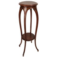 French Art Nouveau Solid Walnut Plant Stand | From a unique collection of antique and modern pedestals at https://www.1stdibs.com/furniture/tables/pedestals/