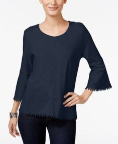 Crochet trim elevates the casual feel of this bell-sleeve top from Style & Co. | Cotton | Machine washable | Imported | Scoop neckline | Pullover styling | Three-quarter bell sleeves | Crochet trim at