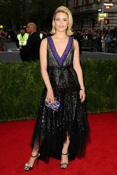 Dianna Agron wore a bespoke dress by Miu Miu.