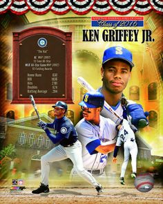 KEN GRIFFEY JR 2016 HOF Hall of Fame Seattle Mariners LICENSED poster 8x10 photo #SeattleMariners