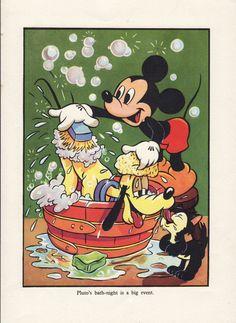 Items similar to Mickey Mouse and Pluto bath time Walt Disney print nursery decor boy on Etsy Walt Disney, Pluto Disney, Disney Love, Disney Magic, Disney Art, Vintage Mickey Mouse, Mickey Mouse And Friends, Mickey Minnie Mouse, Vintage Disney