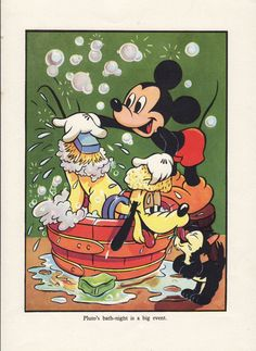 Antique print MICKEY MOUSE and PLUTO 1940s Walt Disney print