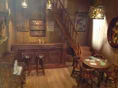 Hand made miniature wild west saloon - Miniature Rooms, Miniature Furniture, Miniature Houses, Western Saloon, Western Theme, 1800s Home, Saloon Decor, Westerns, Wooden Panelling