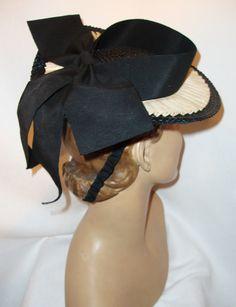 Vtg 1930's 40's Toy Tilt Hat with Back Bow Adorable Black and Ivory