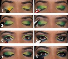 Tutorial make verde, amarelo e azul. www.facebook.com/blogcintaliga