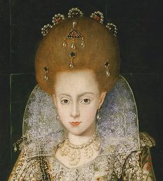 Princess Elizabeth, later Queen of Bohemia in her 1606 Peake portrait. 						 								Previous 								Next 								List 							 								 									  	This closeup shows the ruff and hair jewelry worn by Princess Elizabeth, later Queen of Bohemia in her 1606 Peake portrait.