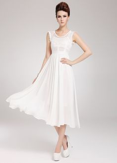 White Contrast Lace Sleeveless Chiffon Two Pieces Dress - Sheinside.com
