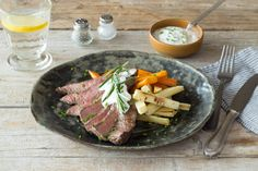 Seared Steak & Creamy Horseradish Sauce with Rosemary-Roasted Root Vegetables