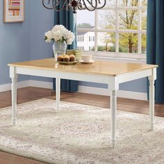 Kitchen Table Farmhouse Dining Room For 6 Six Seat Solid Wood White Natural Oak #BetterHomesandGardens #Farmhouse