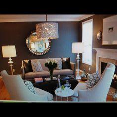 Living room design love the light & mirror