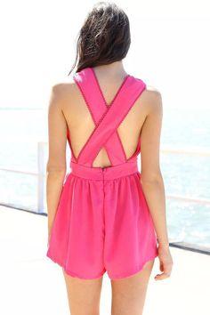 Hot Pink Surplice V Neck Rompers