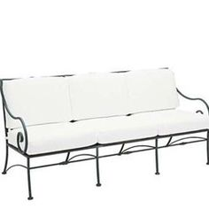 """Riverton Cushioned Sofa - Wrought Iron Patio Furniture by Woodard. $1799.00. Visit our site for Cushion Color and Wrought Iron Finish options. Wrought Iron Cushioned Sofa. W72""""xD32.3""""xH33.9"""". Timeless design elements make the Riverton collection a must for those with a taste for classic decor. A corrosion resistant wrought iron collection with many choices of dining and deep seating pieces, Riverton is presented in your choice of eight enduring finishes and a vast array..."""
