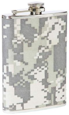 8 oz stainless steel flask with digital camo wrap