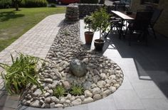 Stone wall and garden Dry River, Home Goods Decor, Home Decor, Garden Floor, Outdoor Living, Outdoor Decor, Outdoor Ideas, Garden Stones, Water Features