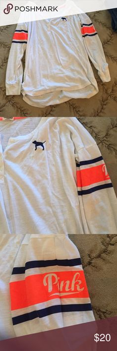 White VS Shirt size XS worn once. White Victoria's Secret shirt size XS worn once. Victoria's Secret Tops Tees - Long Sleeve