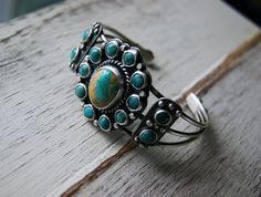 RESERVED - Your Soul's Flower - Turquoise Cluster Sterling Silver Cuff Bracelet on Etsy, $200.00