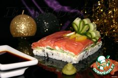 Суши-торт - кулинарный рецепт Cooking Sushi, Sushi Ingredients, Sushi Cake, Nori Seaweed, Open Recipe, Cheese Curds, Japanese Sushi, Sushi Rolls, Holiday Tables